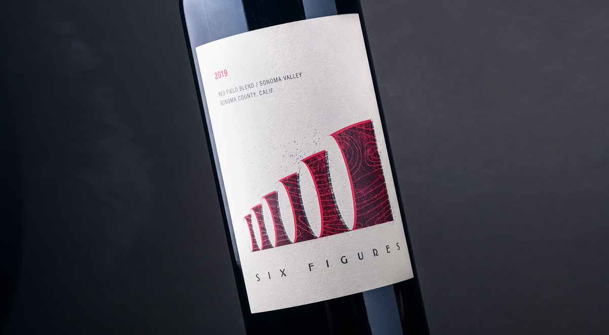 A bottle of Six Figures 2019 Red Field Blend wine.